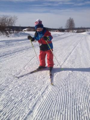 kuva 2 Veikka hiihtää